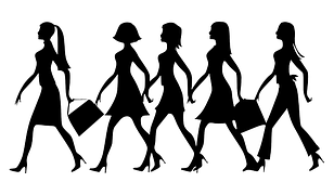 women walking in line