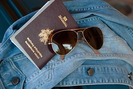 passport, glasses, jacket