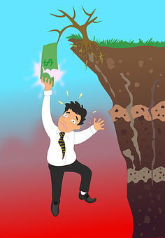 man falling off money tree cliff