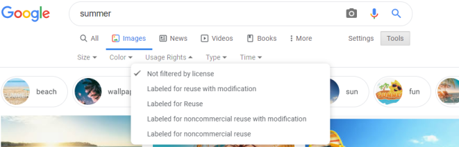 google images usage rights